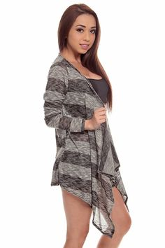 This cardigan features a stripe design throughout, open front, long front and long sleeves. Made in the USA.  #lollicouture #chic #love #croptop #summerfashion #fashionista #summerstyle