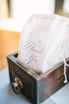Thank You favor bags, photo by Booth Photographics http://ruffledblog.com/the-notwedding-chicago #weddingideas #favors