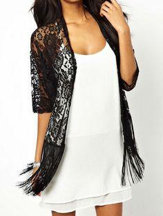 Black Lace and Fringe Kimono