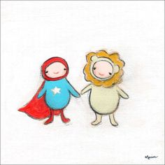 """Super Hero And Lion"" kid's wall decor by Creative Thursday by Marisa for Oopsy Daisy, Fine Art for Kids"