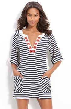 "nanette lepore ""riviera stripe"" tunic cover-up"