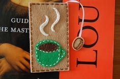 Felt bookmark with a coffee mug..
