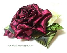 How to Make a French Ribbon Flower Tutorial ... at lambsandivydesigns.blogspot.com