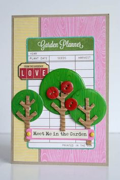 FromThe Garden Of Love Card by Carole Maurin using Jillibean Soup's Southern Chicken Dumping Patterned Paper, Homemade 6 Bean Soup Patterned Paper, Coconut Lime Soup Stickers and Pea Pod Parts, Epoxy Chipboard Buttons, Soup Labels, and Corrugated Shapes (via the Jillibean Soup blog).