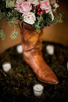 Cowboy Chic Wedding in a BBQ Joint! Click through to see more ideas and inspiration from this #wedding.
