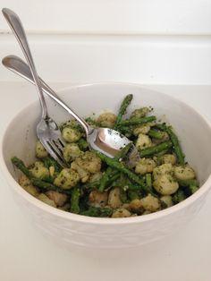 Pesto Gnocchi (gluten, grain and dairy free) with shrimp and asparagus http://livinpaleocuisine.com