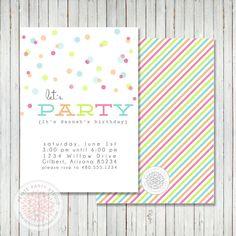Printable Party Invitation - Confetti Polka Dot Birthday or Baby Shower - Petite Party Studio