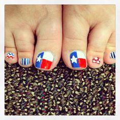 Texas Toes!!  #nailart #texas toe, texa forev