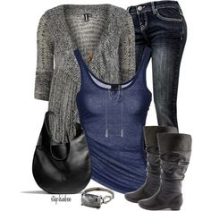 """Grey and Blue v3"" by stephiebees on Polyvore"