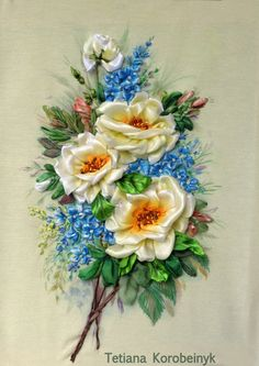 picture Floristic composition embroidered by SilkRibbonembroidery, €80.00