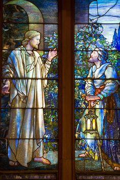 Tiffany in Kansas by Kansas Explorer 3128, via Flickr. Christ with Nicodemus. First Presbyterian Church, Topeka, KS.