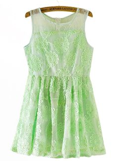Mint Lace Embroidery Dress
