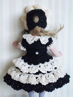 "Hand Crocheted Knitted Dress Set for 7"" 7 1 2"" German French All Bisque Doll 