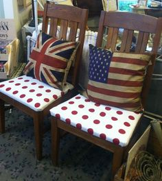 Fabulous oak chairs with diamond pattern back, red polka dots, at Aunt Elsie's! They look great with the flag pillows in the shop.