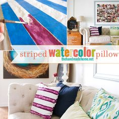 DIY striped watercolor pillow | the handmade home