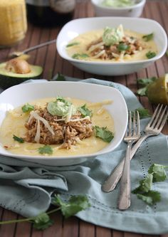 Slow cooker balsamic pulled pork with polenta and avocado crema