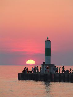 sunset at Holland State Park.  Michigan via flickr