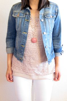 lace top with denim jacket + white jeans