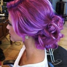 Purple hair in a gorgeous up-do!