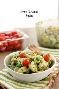 Pesto Tortellini Salad » Eat. Drink. Love. I will add asparagus and possibly artichoke hearts. Yummy!