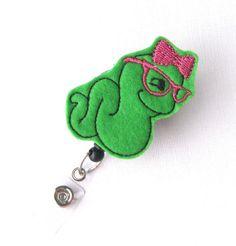 Ms Bookworm - Felt Badge Holders - Cute Badge Pulls - Unique Retractable ID Badge Clips - Name Badge Reels - Teacher Badge - BadgeBlooms via Etsy