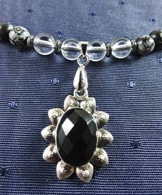Black Onyx set in Sterling Silver with by GemstoneJewelrybyVal.
