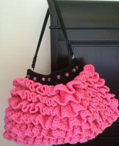 """Ruffle Crochet Purse Pattern.  19"""" x 11"""".  Find me on Etsy! crochet ruffl, purs pattern, ruffl purs, ruffl crochet, crochet purses, purse patterns"""
