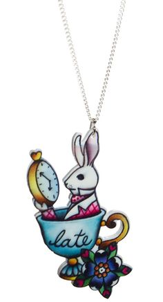 LATE RABBIT ALICE NECKLACE    Don't be late for your very important date! This Alice inspired necklace features the rabbit with his pocket watch sitting inside a tea cup on a die-cut piece of acrylic hanging from a silver chain.    $15.00    #aliceinwonderland #fairytale #happilyeverafter #cheshirecat #drinkme #eatme #alice #madhatter #teaparty #whiterabbit