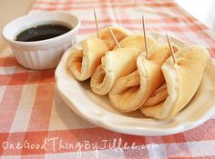 """""""Pancake Dippers"""" for dipping in your Homemade Maple Syrup. :-)"""