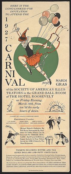 Invitation to the 1927 Mardi Gras Carnival put on by the Society of American Illustrators in the Grand Ballroom of the Hotel Roosevelt.  Citation: Carnival Mardi Gras 1927, 1927 Mar. 18. Mary Fanton Roberts papers, Archives of American Art, Smithsonian Institution.