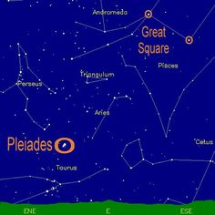 Where is Aries? Find the Great Square of Pegasus - nearly overhead, & the Pleiades star cluster low in the east. Aries is midway between them. Look for a small, curved line of three stars. They are Alpha, Beta and Gamma Arietis.