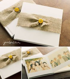 Identical wedding albums that I designed for my client!  Aren't the burlap belts absolutely beautiful?!