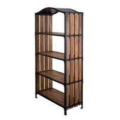 Industrial Curve Mango & Iron Bookcase | dotandbo.com