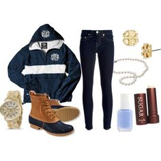 preppy outfit for a rainy day