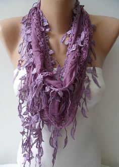 Lilac Laced Scarf with Trim Edge -- Speacial Laced Fabric$18.90