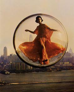 Over New York, New York 1963, photography, Melvin Sokolsky.