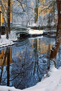 Snow Covered Bridges of Amsterdam ~ The Netherlands