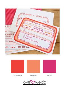 red-orange, tangerine, fuschia #color palette #wedding