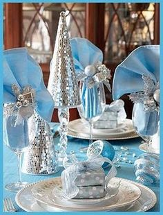 Blue & silver table..for chanukah