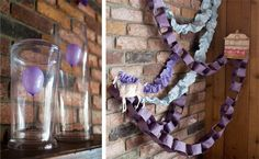 mini balloons under glass and purple chains