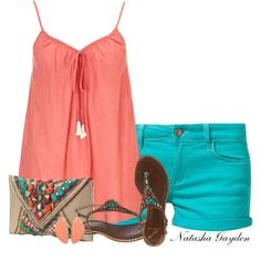 Summer Outfits | Coral and Turquoise