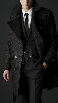 Gentlemen: please ditch your skiing jacket if you're going to work. Wool Tweed Belted Coat @ Burberry