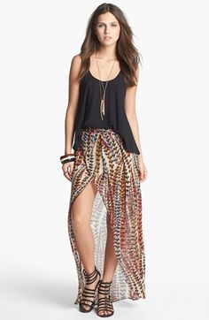 Mimi Chica High/Low Print Faux Wrap Skirt