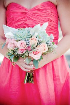 Hot pink bridesmaid!  Coral wedding mint flowers