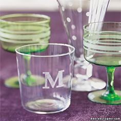 Use etching cream to turn flea-market finds and dollar-a-glass specials into personalized glassware with monograms, stripes, and polka dots.