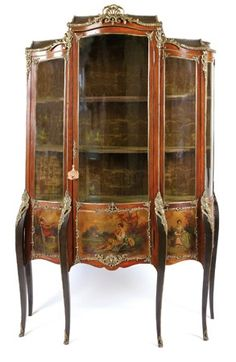A Louis Style Gilt Metal Mounted, Vernis Martin Triple Door Vitrine,19TH CENTURY