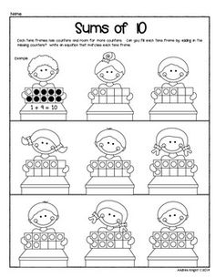 Sample page from:  NUMBER SENSE AND PROBLEM SOLVING USING TENS FRAMES  (40 pages to support student learning, K-1)  $