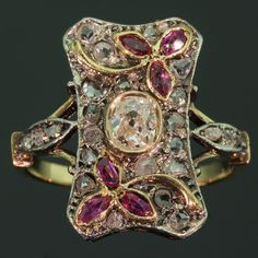 Victorian ring with rubies rose cut diamonds and old mine cut brilliant diamond