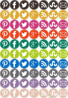 Free set of social media icons in Pantone Fall 2012 inspired colors