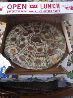 Instead of giving money in a card I made a money pizza!